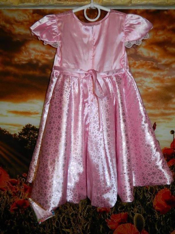 Платье детское новое розовое с блестящими серебристыми мелкими цв - Фото 5