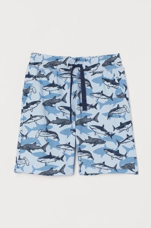 Шорты, шорти, шортики, для мальчика, с акулами, 122 см, h&m, hm