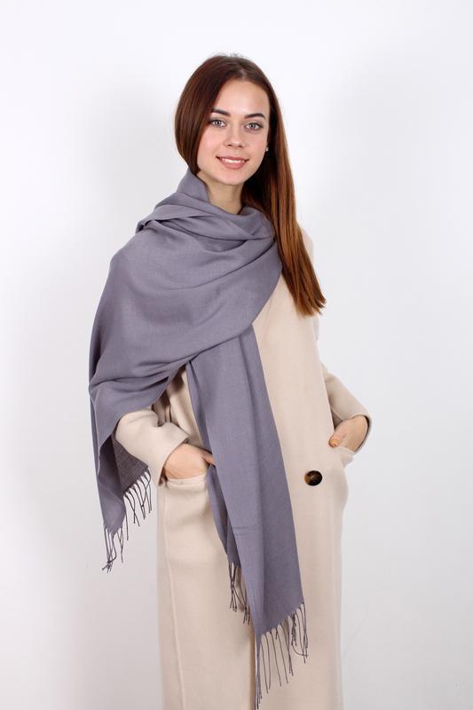 Палантин пашмина шарф однотонный серый в наличии