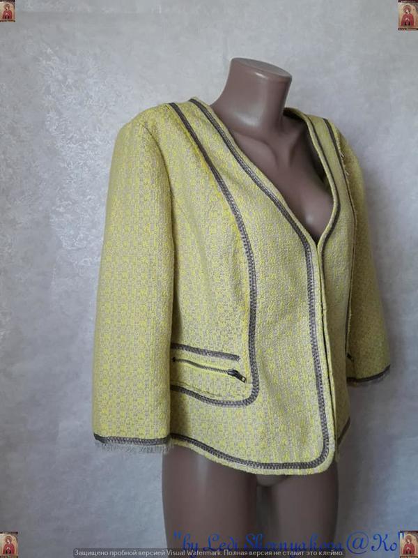 Новый твидовый жакет/пиджак сочного лимонного цвета с нитью лю... - Фото 3