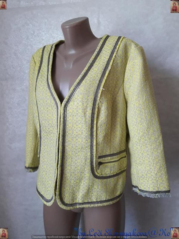 Новый твидовый жакет/пиджак сочного лимонного цвета с нитью лю... - Фото 4