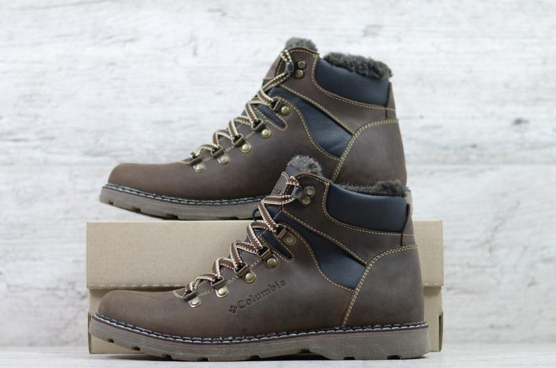Натуральная кожа мужские зимние кожаные ботинки на шнурках - Фото 3