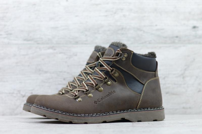 Натуральная кожа мужские зимние кожаные ботинки на шнурках - Фото 5