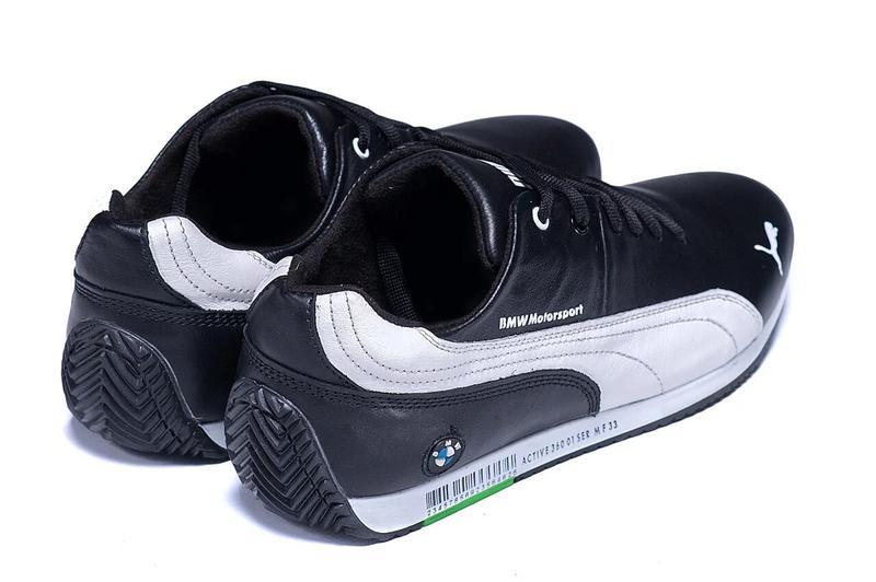 Мужские Кожаные Кеды Puma BMW MotorSport Black - Фото 4