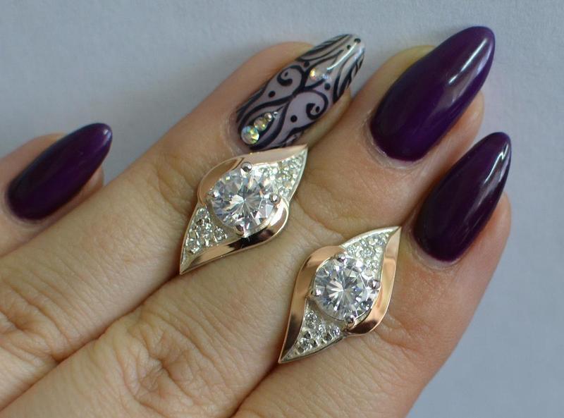 Серьги серебро 925 с золотом 145с - Фото 2