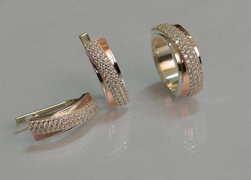 Серьги серебро 925 с золотом 157с - Фото 5