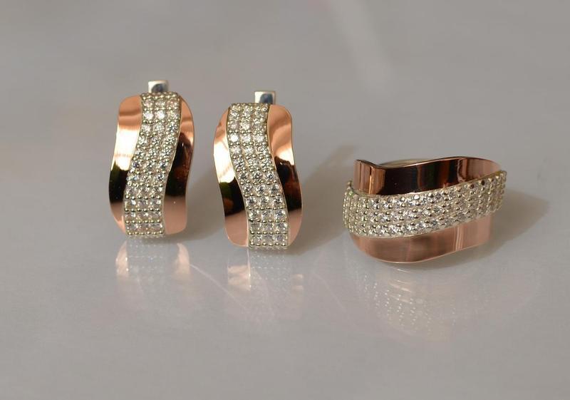 Кольцо серебро 925 с золотом 131к - Фото 5