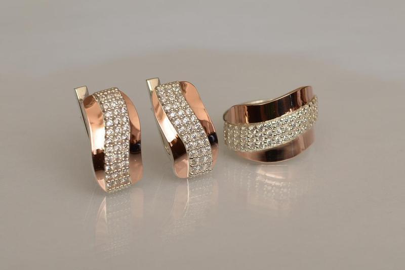 Кольцо серебро 925 с золотом 131к - Фото 6