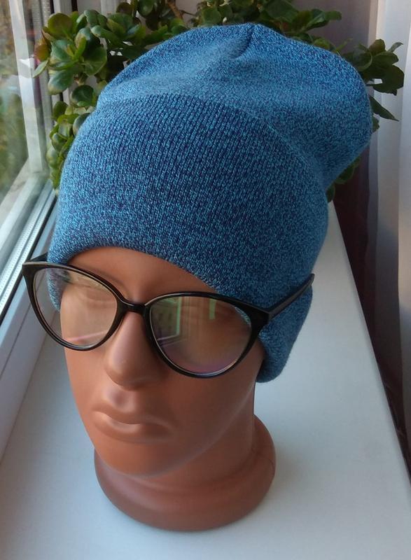 Новая модная шапка бини, голубая меланж