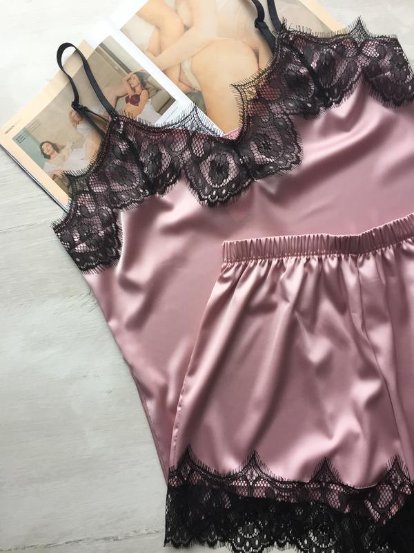 Пижама женская шелковая майка и шорты пудра - Фото 2