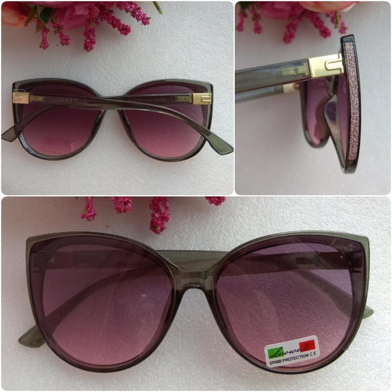 Новые модные очки бабочки с блеском по бокам, малиновые в серо...