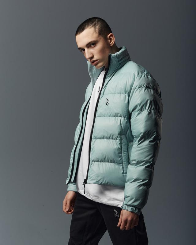 Короткая мужская куртка-пуховик мята - Фото 3