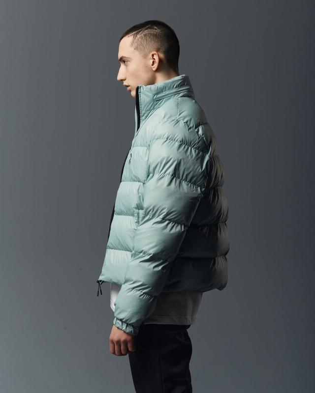 Короткая мужская куртка-пуховик мята - Фото 4
