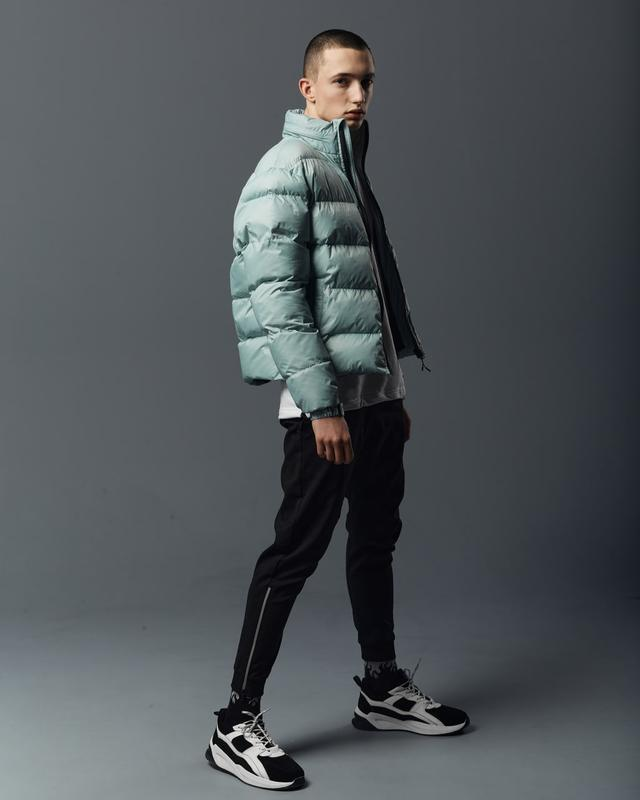 Короткая мужская куртка-пуховик мята - Фото 7