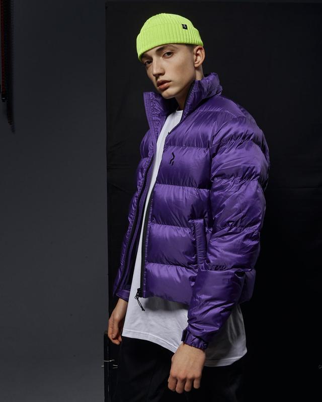 Короткая мужская куртка-пуховик фиолетовый - Фото 2