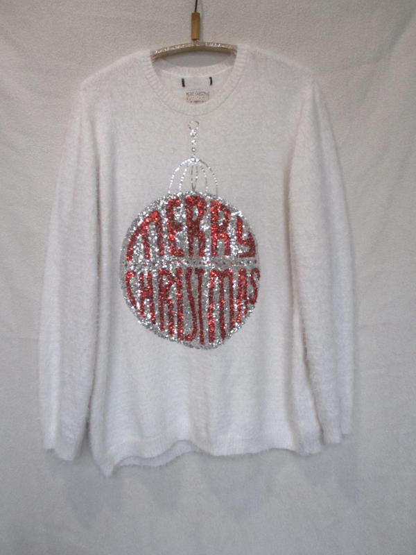 Теплый пушистый свитер травка с новогодней тематикой/пайетки m...