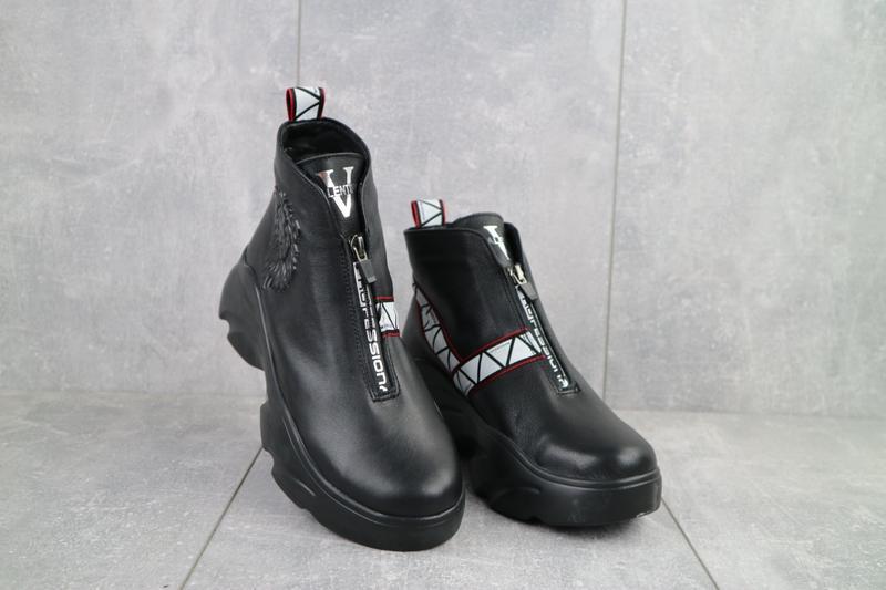 Ботинки женские best vak черные (натуральная кожа, зима)