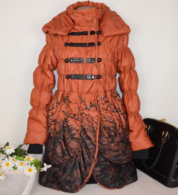 Брендовая оранжевая утепленная куртка karla design синтепон эт...