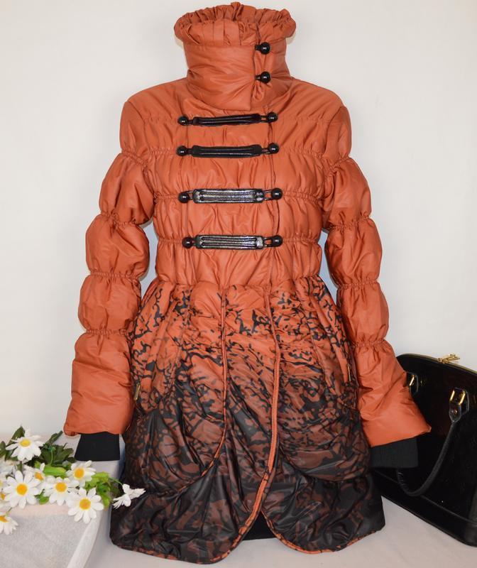 Брендовая оранжевая утепленная куртка karla design синтепон эт... - Фото 2