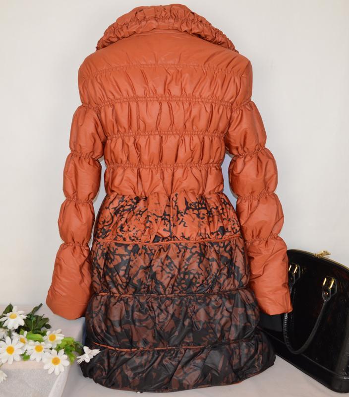 Брендовая оранжевая утепленная куртка karla design синтепон эт... - Фото 3