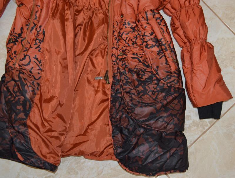 Брендовая оранжевая утепленная куртка karla design синтепон эт... - Фото 5