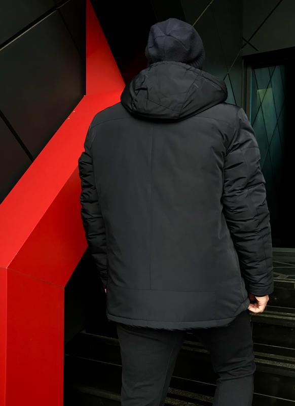 Темно-синяя зимняя куртка casual (48-56) - Фото 2
