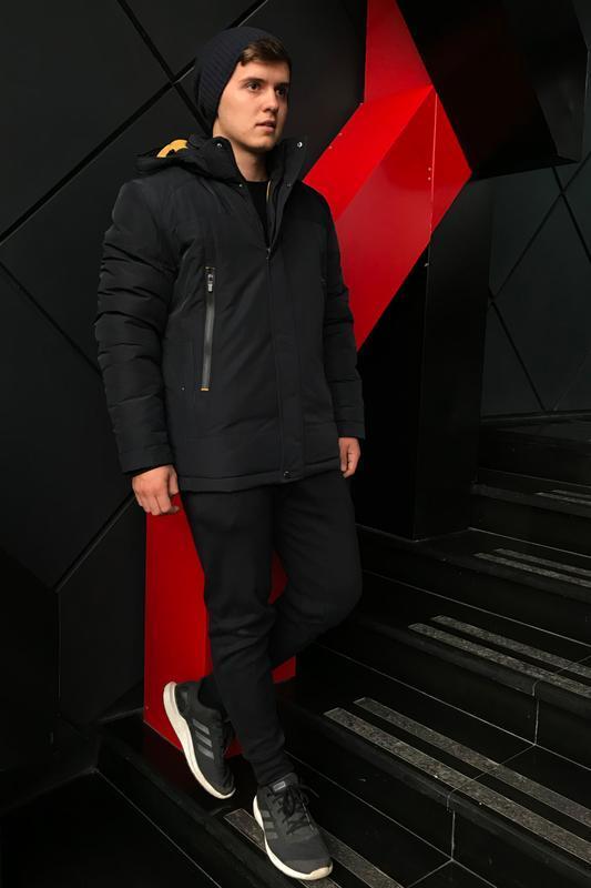 Темно-синяя зимняя куртка casual (48-56) - Фото 3