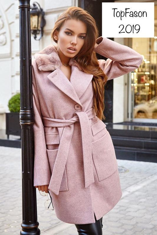 Зимнее женское пальто с мехом чернобурки (42-48)