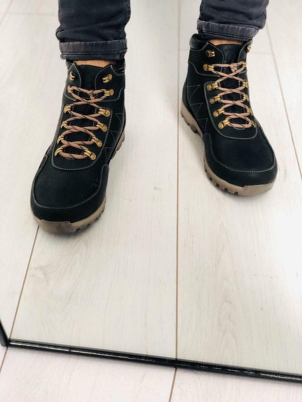 Мужские черные зимние ботинки, кожа crazy
