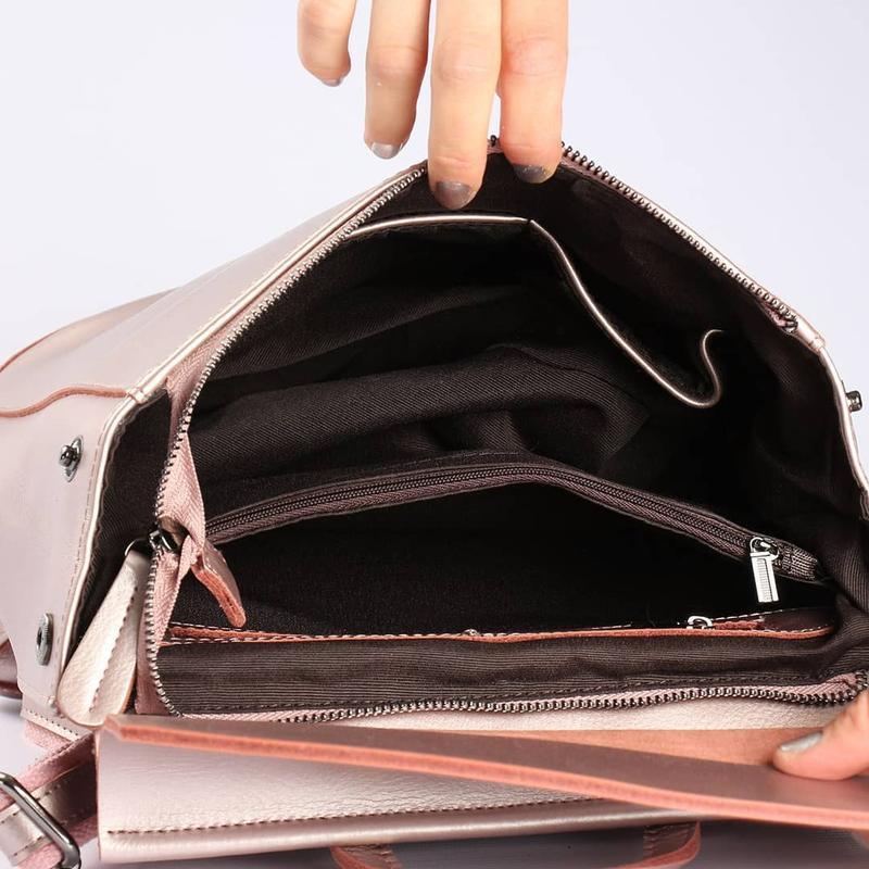 Женский кожаный рюкзак трансформер сумка на плечо жіночий рюкзак - Фото 3
