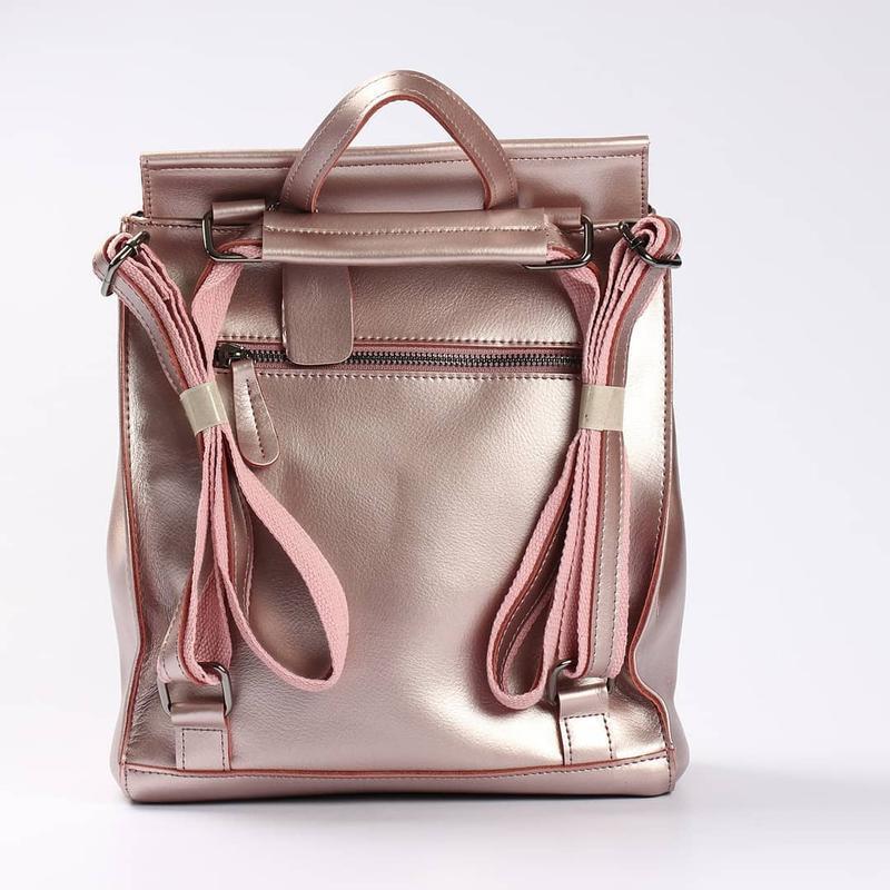 Женский кожаный рюкзак трансформер сумка на плечо жіночий рюкзак - Фото 5
