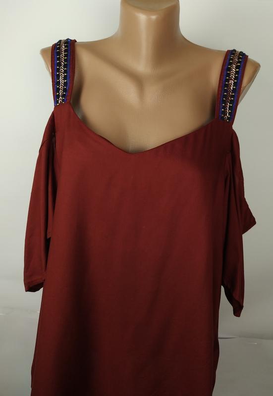 Блуза новая красивая натуральная с открытыми плечами next uk 1... - Фото 3