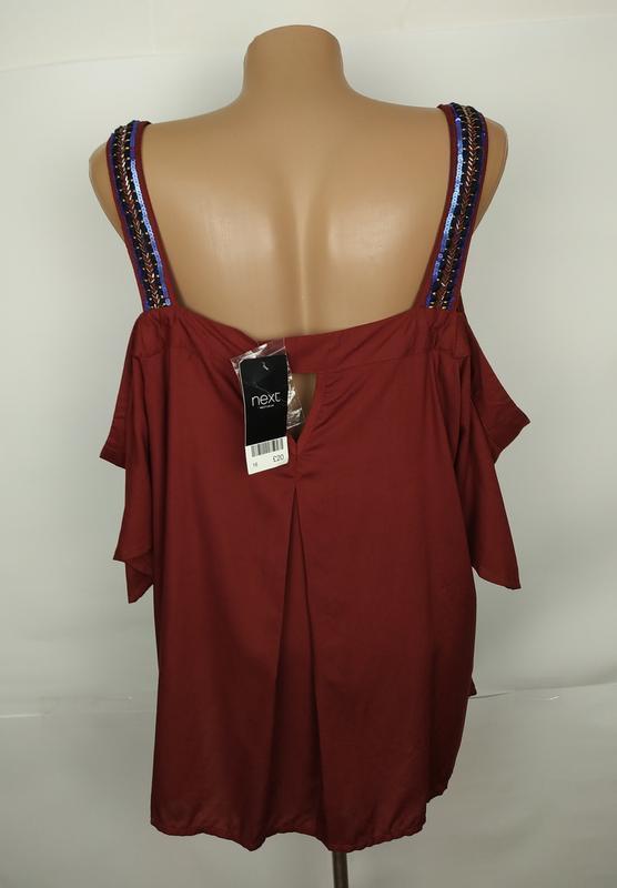 Блуза новая красивая натуральная с открытыми плечами next uk 1... - Фото 4