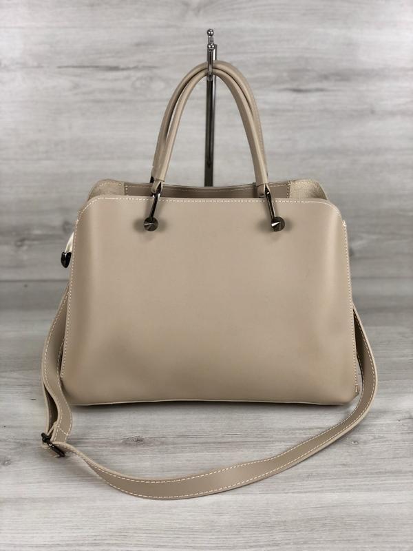 Стильная сумка на три отделения кремового цвета - Фото 2