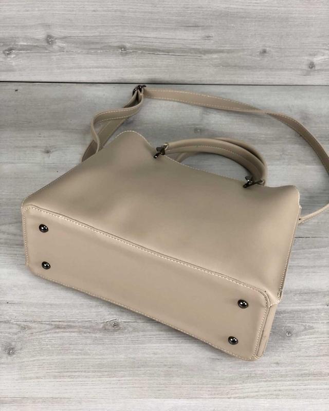 Стильная сумка на три отделения кремового цвета - Фото 5