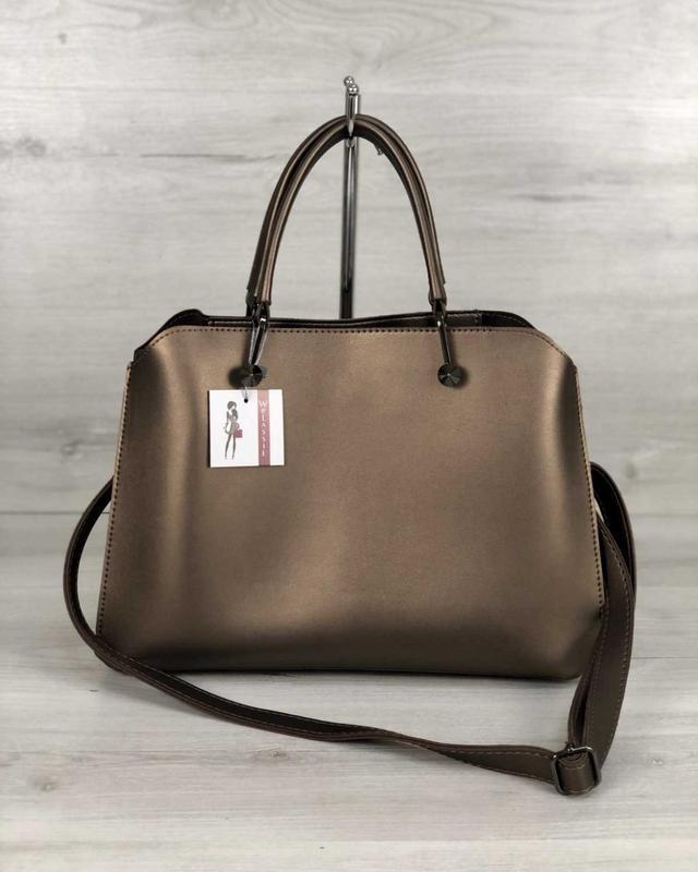 Стильная сумка на три отделения бронзового цвета
