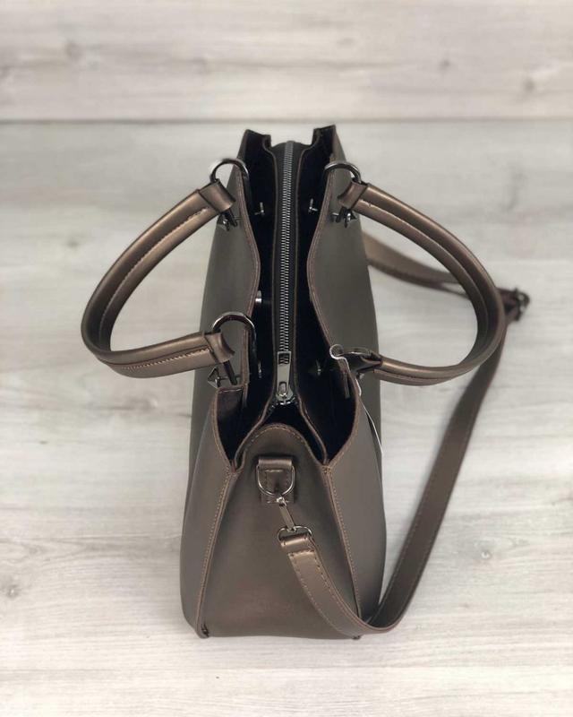 Стильная сумка на три отделения бронзового цвета - Фото 3