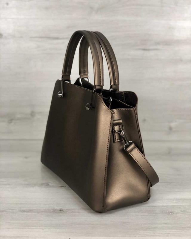 Стильная сумка на три отделения бронзового цвета - Фото 5