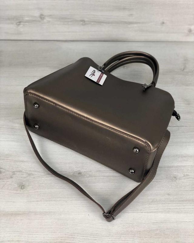 Стильная сумка на три отделения бронзового цвета - Фото 6