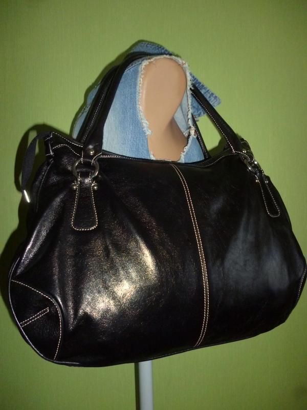 Стильная большая сумка натуральная кожа l credi италия - Фото 3