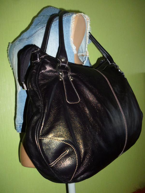 Стильная большая сумка натуральная кожа l credi италия - Фото 4