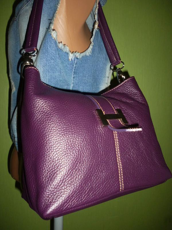 Стильная сумка натуральная кожа - Фото 4