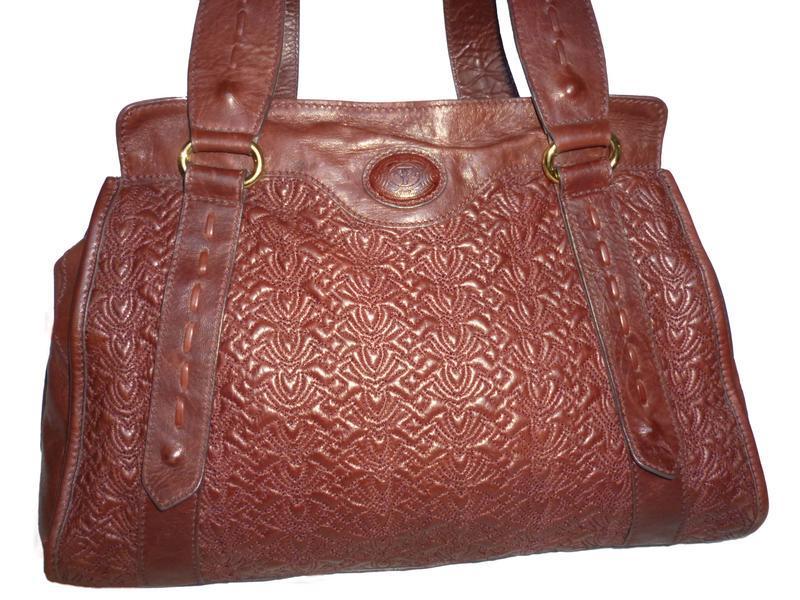 Элегантная вместительная винтажная сумка натуральная кожа tossi