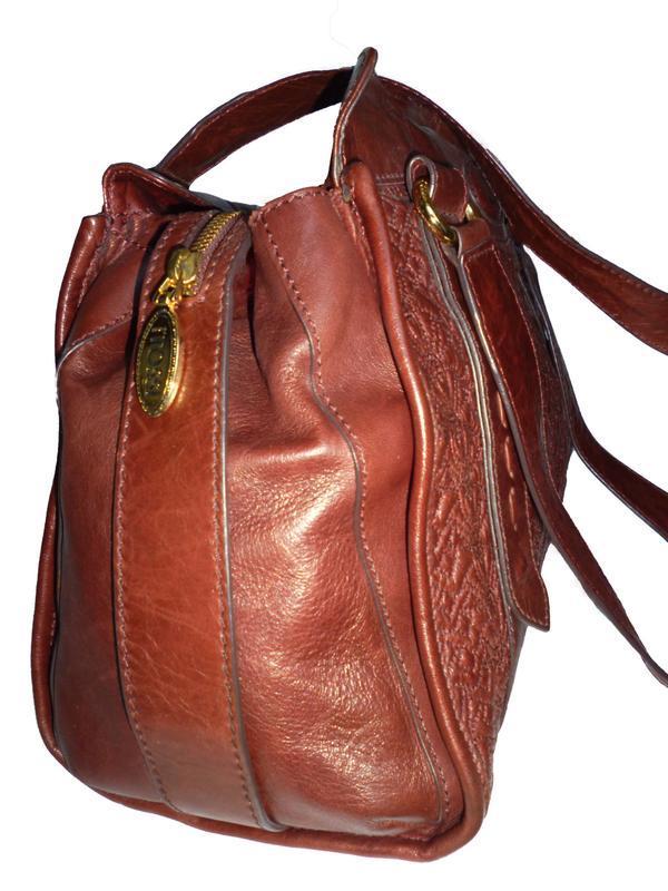 Элегантная вместительная винтажная сумка натуральная кожа tossi - Фото 3