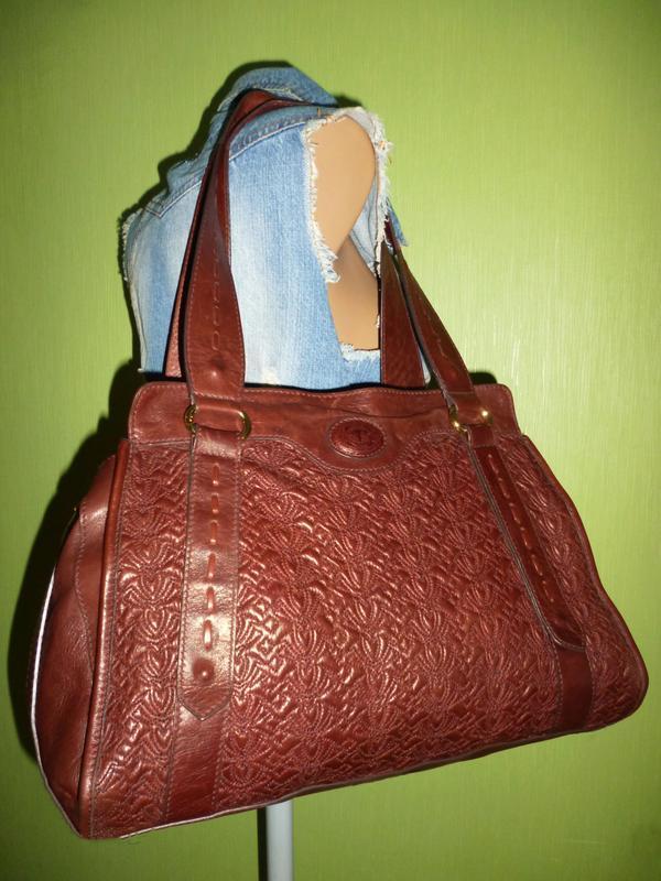Элегантная вместительная винтажная сумка натуральная кожа tossi - Фото 4