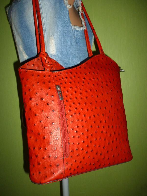 Стильная вместительная сумка натуральная кожа borse in pelle  ... - Фото 4