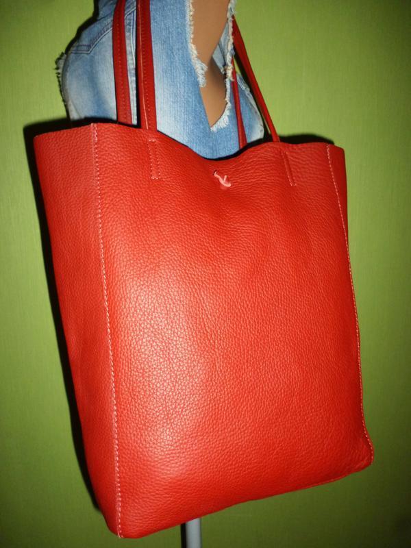 Шикарная большая сумка шоппер натуральная кожа  borse in pelle... - Фото 4