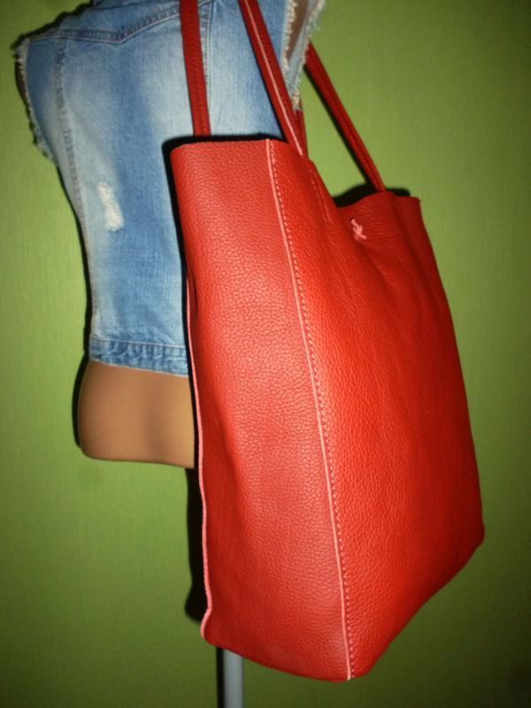 Шикарная большая сумка шоппер натуральная кожа  borse in pelle... - Фото 5
