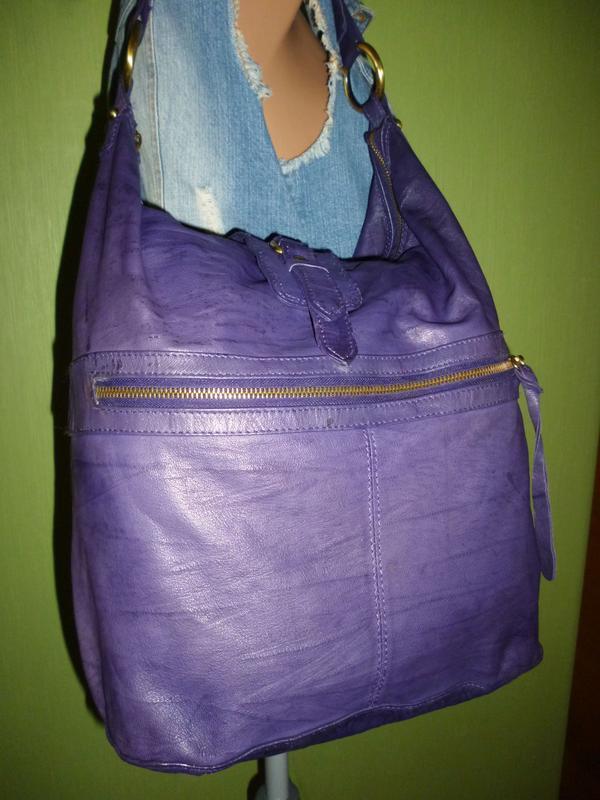 Стильная большая сумка натуральная кожа topshop - Фото 5