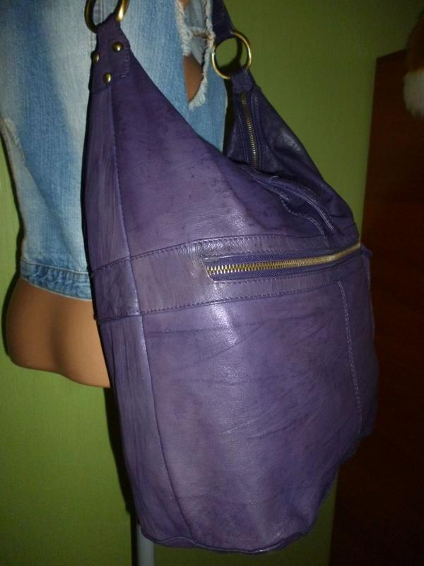 Стильная большая сумка натуральная кожа topshop - Фото 6